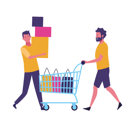 Male friends with shopping cart and bags cartoon vector illustration graphic design