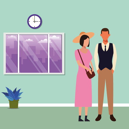 Young woman and man couple avatar inside office building vector illustration graphic design Stock Illustratie