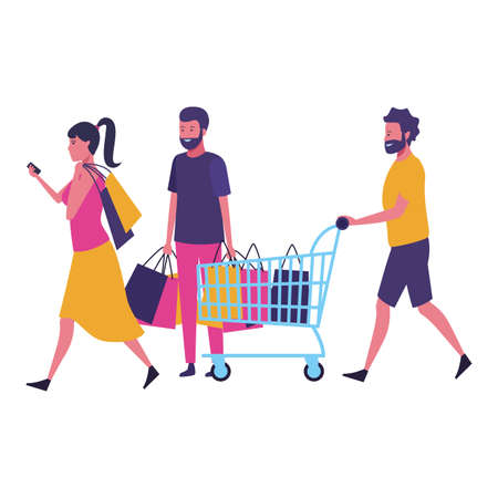 Friends walking with shopping cart and bags cartoon vector illustration graphic design