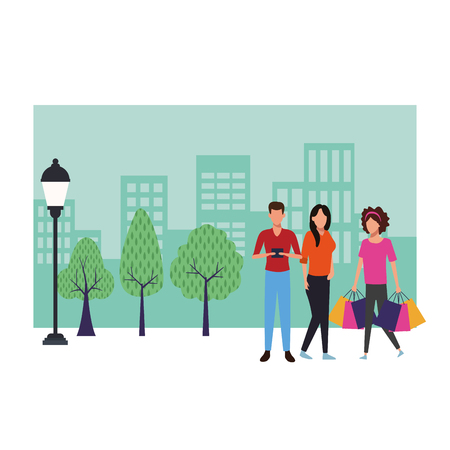 People with shopping bags and smartphone cartoon at cityscape scenery vector illustration graphic design