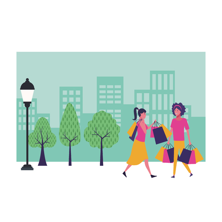 Female friends with shopping bags cartoon at cityscape scenery vector illustration graphic design