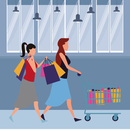 women with shopping cart and bags cartoon inside mall building vector illustration graphic design
