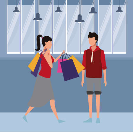 Couple with shopping bags and gifts cartoon inside mall building vector illustration graphic design