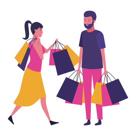 Couple with shopping bags and gifts cartoon vector illustration graphic design  イラスト・ベクター素材