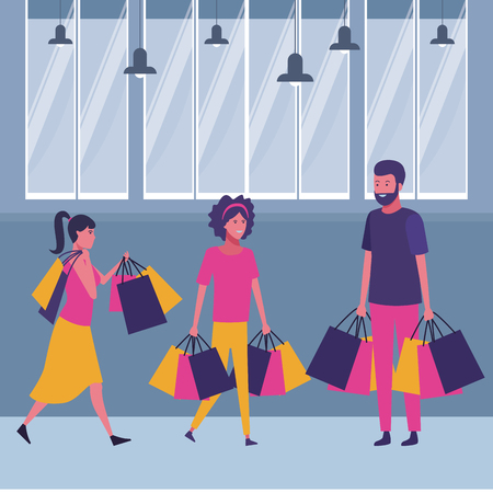 People walking with shopping bags cartoon inside mall building vector illustration graphic design