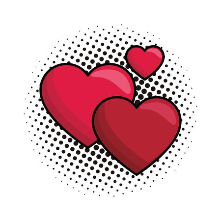 Hearts lovely symbol vector illustration graphic design pop art Vector Illustration