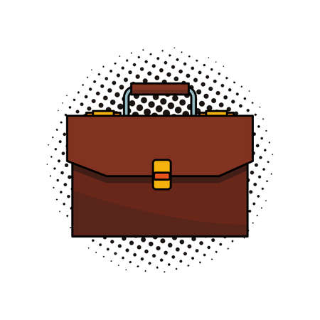 Business briefcase symbol isolated vector illustration graphic design pop art