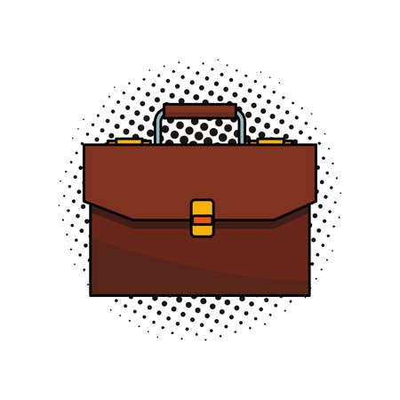 Maletín de negocios símbolo aislado ilustración vectorial diseño gráfico pop art