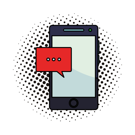 Smartphone and chat bubble vector illustration graphic design pop art