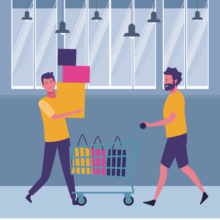 Male friends with shopping cart and bags cartoon inside mall building vector illustration graphic design  イラスト・ベクター素材