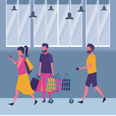 Friends walking with shopping cart and bags cartoon inside mall building vector illustration graphic design