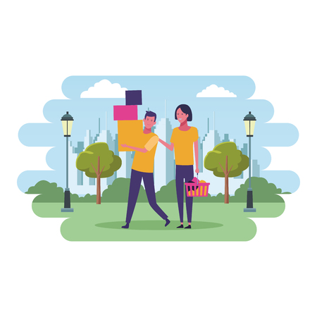 Couple with shopping basket and boxes cartoon at cityscape scenery vector illustration graphic design