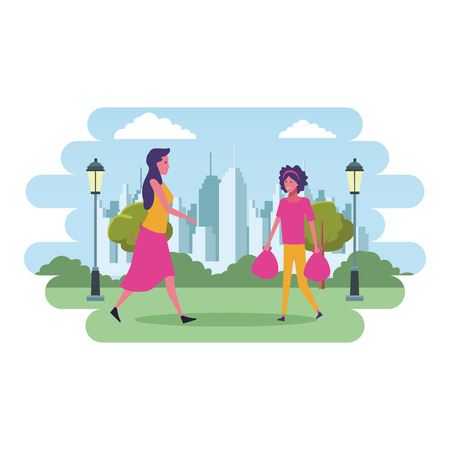 mother pushing shopping cart and daugther with bags cartoon at cityscape scenery vector illustration graphic design