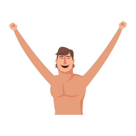 Happy man with arms up profile vector illustration graphic design Vettoriali