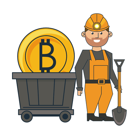 Mining bitcoin and worker with shovel and wagon vector illustration graphic design