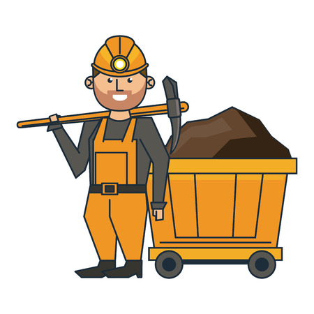 mining worker with pick and wagon vector illustration graphic design
