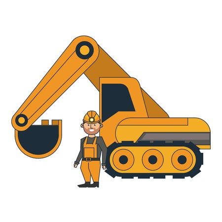 Mining worker with backhoe vector illustration graphic design Vecteurs