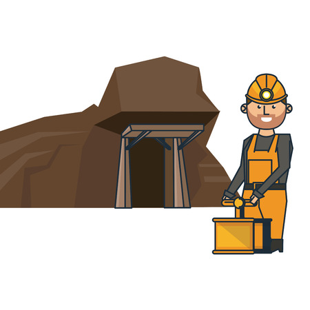 Mining cave and worker with detonator vector illustration graphic design
