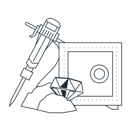 Diamond mining with strongbox and drill in black and white vector illustration graphic design Illustration