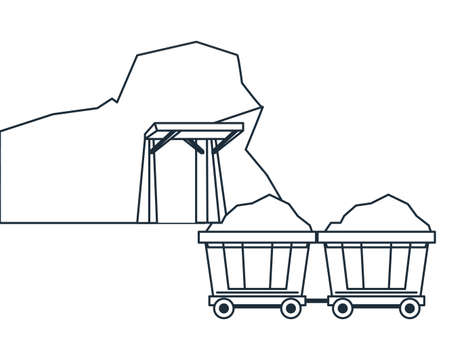 Mining cave and wagon carts in black and white vector illustration graphic design