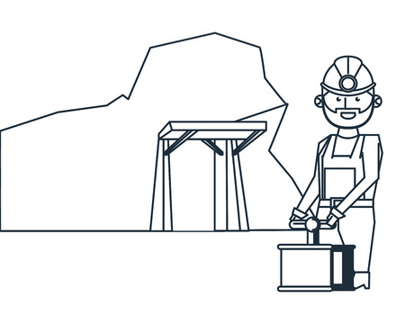 Mining cave and worker with detonator in black and white vector illustration graphic design