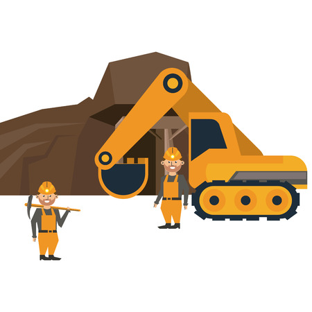 Ming cave with workers and backhoe vector illustration graphic design
