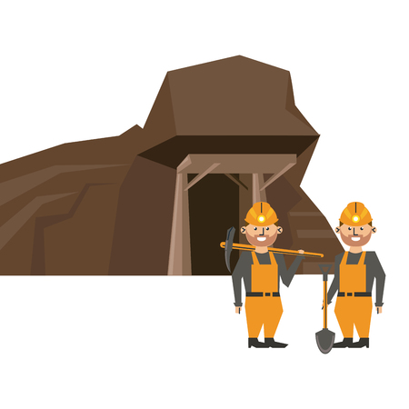 Mining cave and workers with tools vector illustration graphic design
