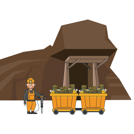Mining cave and worker with wagon carts vector illustration graphic design
