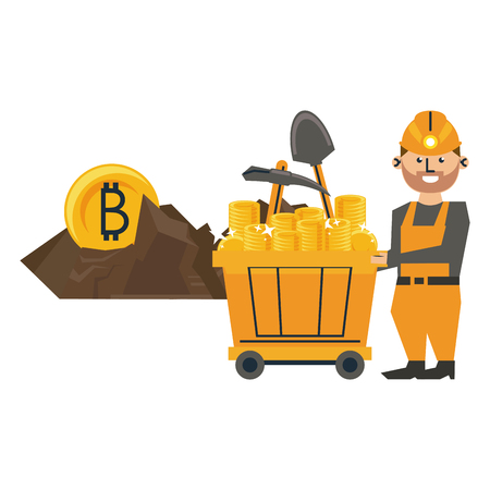 Mining bitcoin and worker with tools and wagon vector illustration graphic design