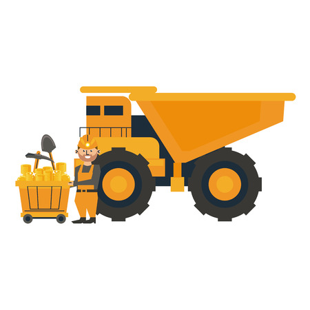 Mining worker with big truck vector illustration graphic design