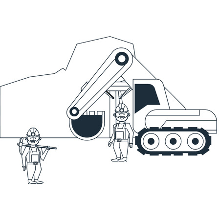 mining cave with workers and backhoe in black and white vector illustration graphic design
