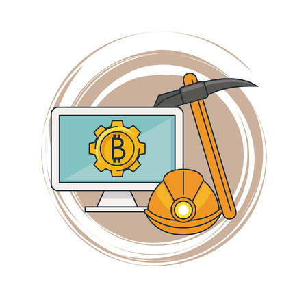 Bitcoin mining from computer with tools over round icon vector illustration graphic design Illustration