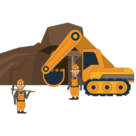 mining cave with workers and backhoe vector illustration graphic design