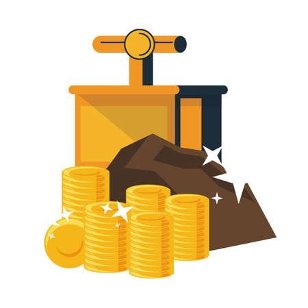 Mining gold coins and tnt detonator vector illustration graphic design