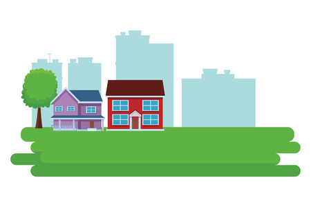 Set of city buildings real estate over cityscape scenery vector illustration graphic design