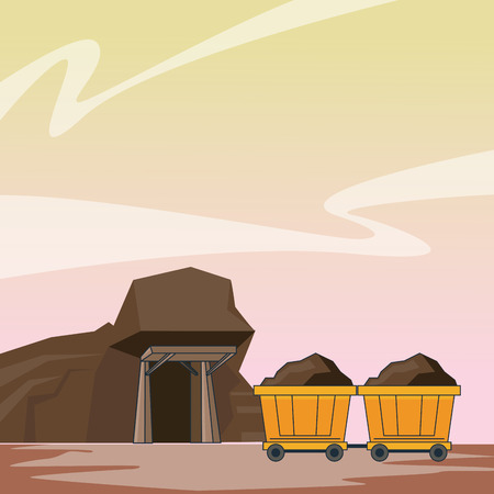Mining cave and wagon carts at mine vector illustration graphic design