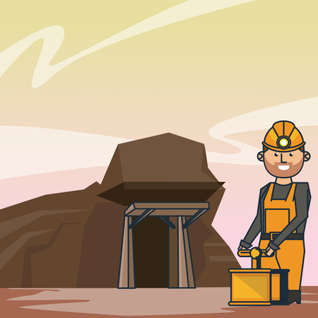 Mining cave and worker with detonator at mine vector illustration graphic design