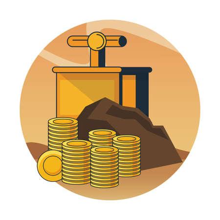 Mining gold coins and tnt detonator over round icon vector illustration graphic design Vettoriali