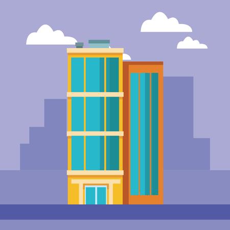 Company building real estate over cityscape vector illustration graphic design