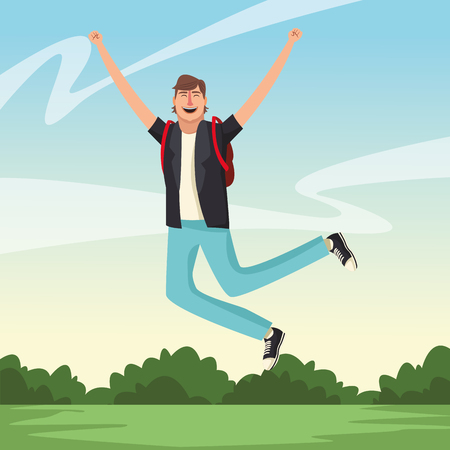 Happy and young man with arms up cartoon over nature park scenery vector illustration graphic design Ilustração