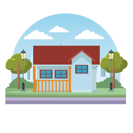 House real estate over cityscape scenery round icon vector illustration graphic design Illusztráció