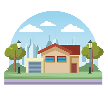 House real estate over cityscape scenery round icon vector illustration graphic design Иллюстрация