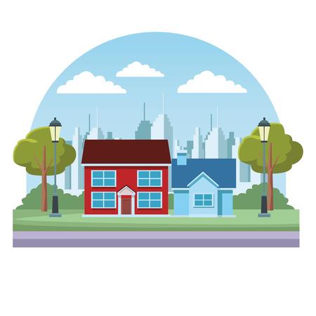 Satz von Stadtgebäuden Immobilien über Stadtbildlandschaft runden Symbolvektorillustrationsgrafikdesign