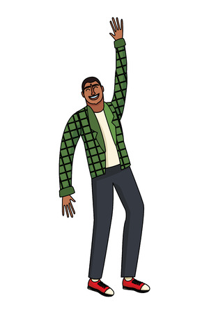 Happy and young man with arms up cartoon vector illustration graphic design Vettoriali