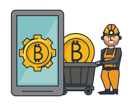 Bitcoin mining and investment smartphone and worker with wagon cart vector illustration graphic design