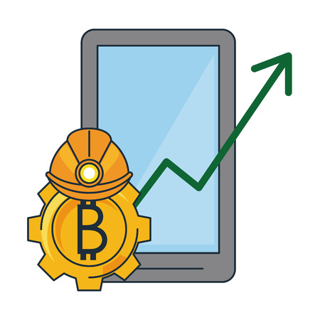 Bitcoin mining and investment smartphone and helmet vector illustration graphic design Çizim