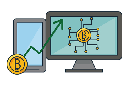 Bitcoin mining and investment computer and smartphone vector illustration graphic design Stock Illustratie