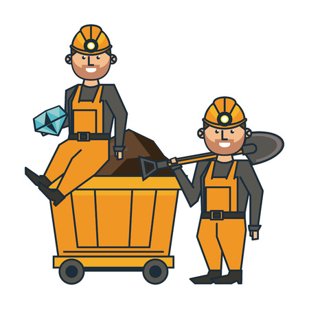 Mining workers with tools and cart wagon vector illustration graphic design
