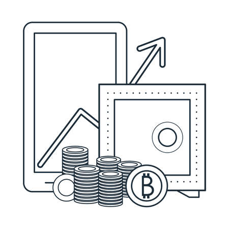 Bitcoin mining and investment smartphone and strongbox vector illustration graphic design