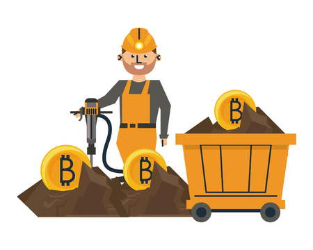Bitcoin mining and investment worker with drill and cart wagon vector illustration graphic design 向量圖像